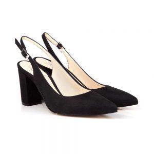 Marion Black Suede Mid Block Heel