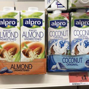 Sainsburys Alpro Almond and Coconut Milks