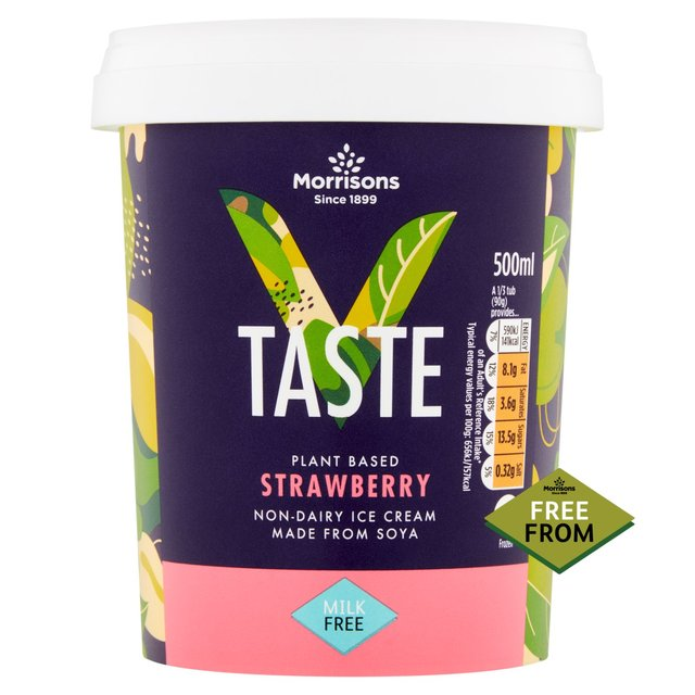 Morrisons Free From Soya Strawberry Ice Cream 500ml
