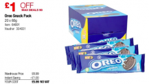 Box of 20 packs of Oreos £5.99 in Costco