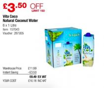 Vita Coco Coconut Water 6x 1l £10.18