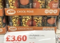 12 cans of Chickpeas £3.60